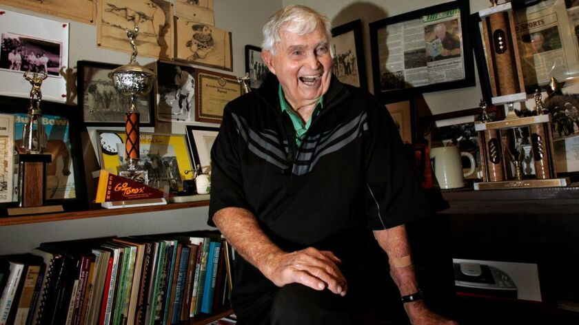John Johnson in his office at Cal State Dominguez Hills in Carson on Feb. 19, 2009. He was the golf coach at Dominguez Hills and a football coach at UCLA.