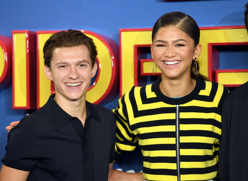 """""""Spider-Man: Far From Home"""" stars Tom Holland and Zendaya attend the """"Spider-Man: Homecoming"""" photo-call in 2017."""