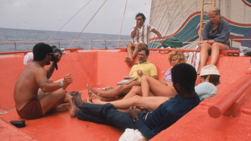 Picture of the 1973 Acali raft that crossed the Atlantic with eleven people onboard in a controversi