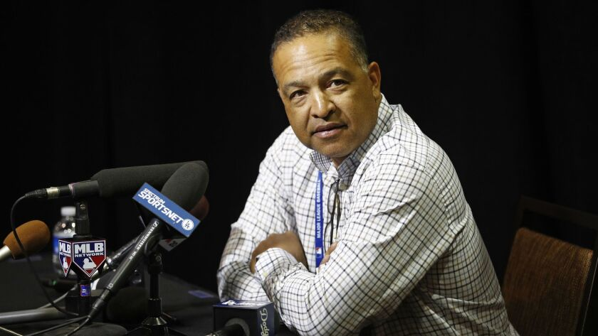 Los Angeles Dodgers manager Dave Roberts speaks at a news conference during Major League Baseball wi