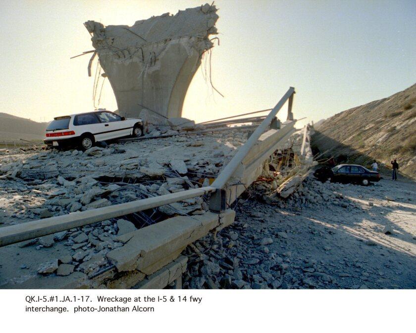 Freeway damage in Northridge earthquake