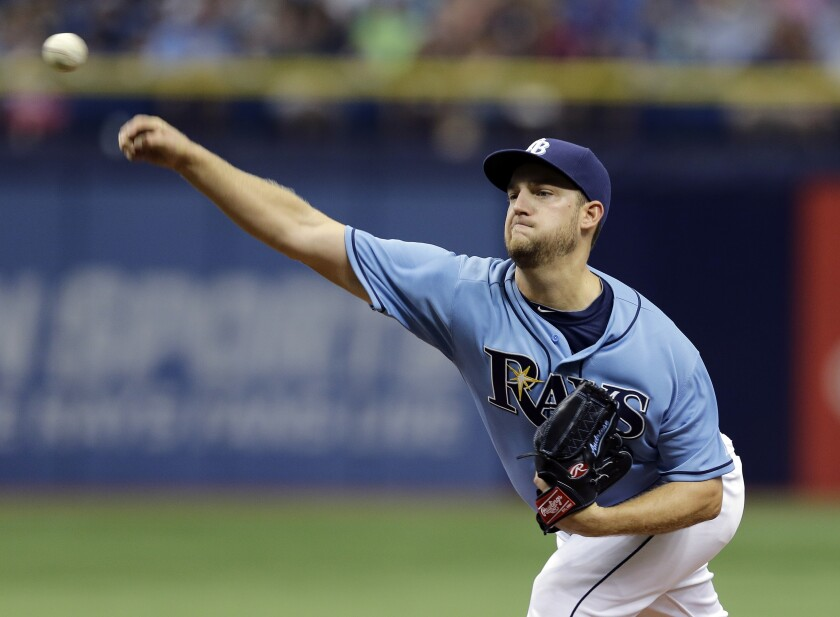 Matt Andriese delivers during a game between the Tampa Bay Rays and New York Yankees on April 19, 2015, in St. Petersburg, Fla.