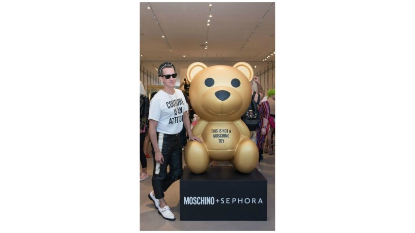 L.A.-based designer Jeremy Scott at the Moschino + Sephora beauty collection launch party at the Mos