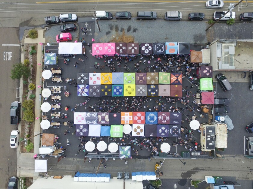 An aerial view of the Brewbies festival at Bagby Beer in Oceanside.