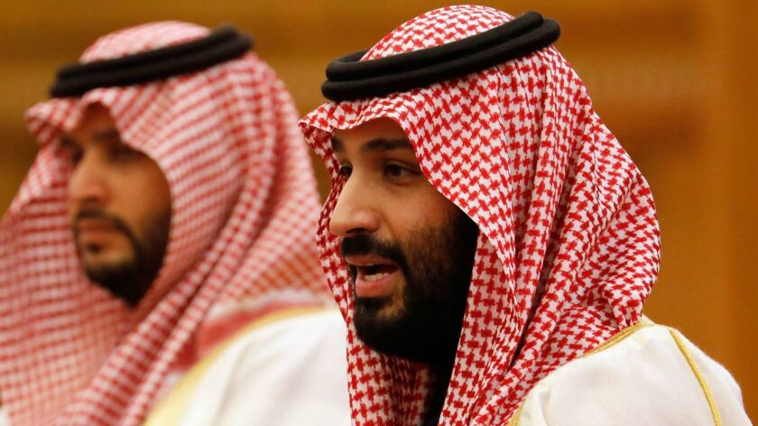 Saudi Crown Prince Mohammed bin Salman, right, at the Great Hall of the People in Beijing in February.