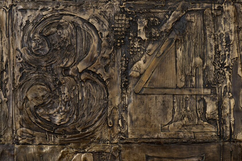 Jasper Johns, 'Numbers' (detail), 2007, bronze, 107 1/2 x 83 x 2 1/4 inches.