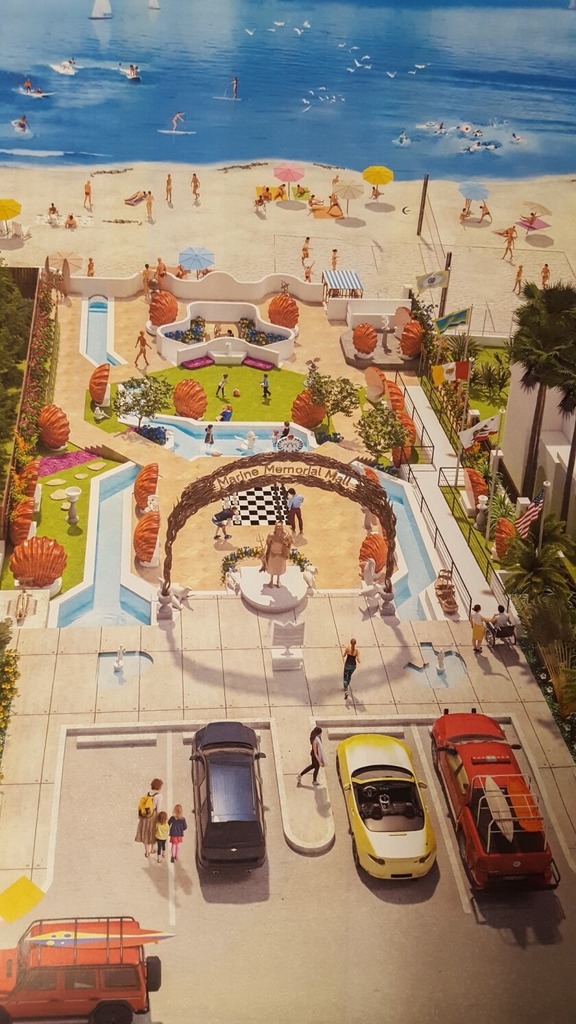 Renderings of the proposed Marine Memorial Mall show the placement of orange clam-shaped seating and blue waterways throughout the park.