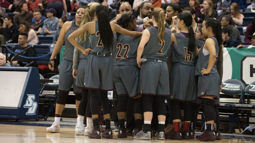 The Bishop's School Lady Knights basketball team huddle up ahead of the March 4 CIF San Diego championship game.