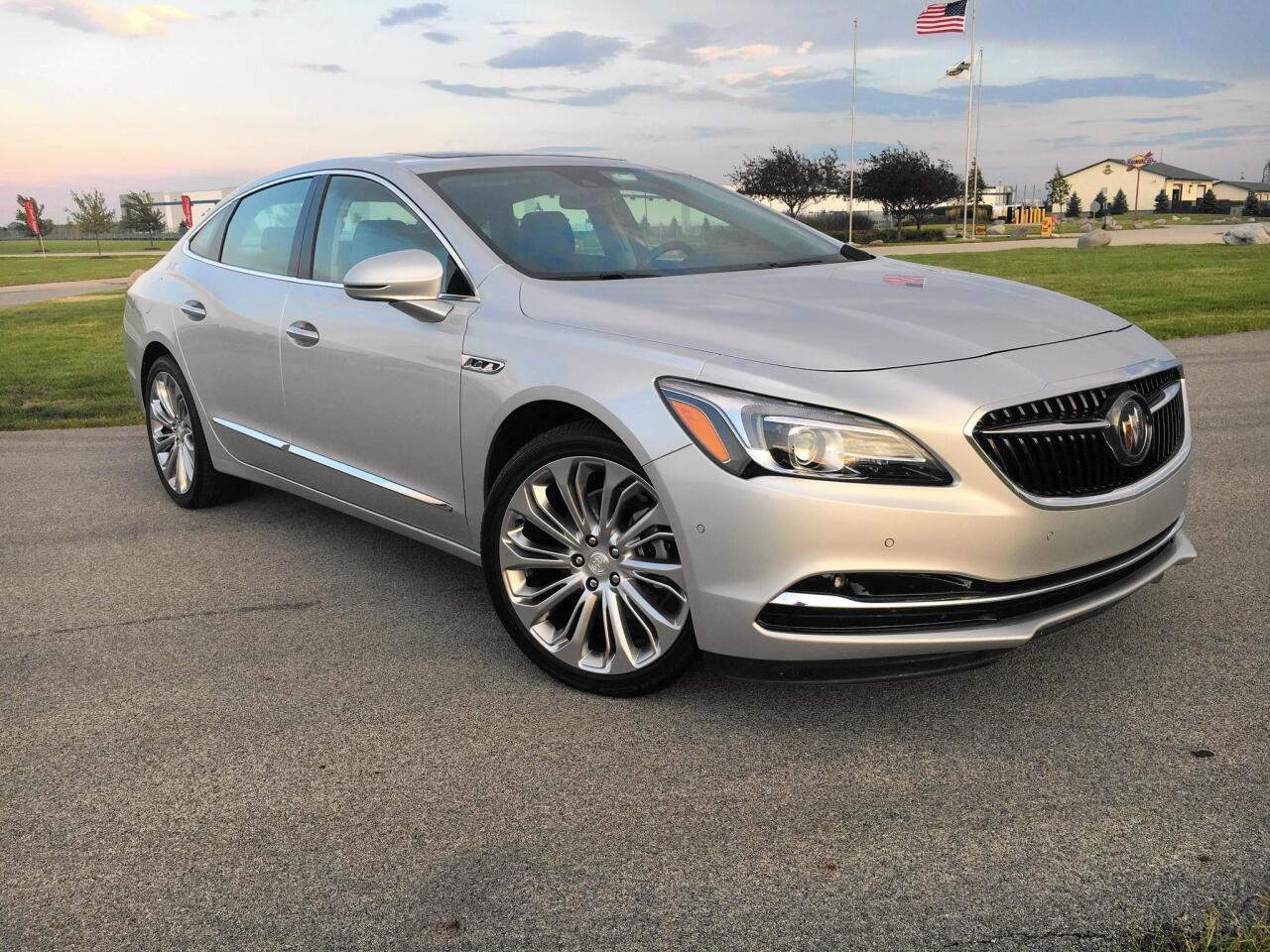 Redesigned for 2017, the third generation Buick LaCrosse in Premium trim and quicksilver metallic paint is a full-size sedan that will cease production March 1, 2019 out of GM's Detroit/Hamtramck factory, pending negotiations with United Auto Workers union. Pictured August 1, 2017 at Autobahn Country Club in Joliet, Ill. Read the review>>>