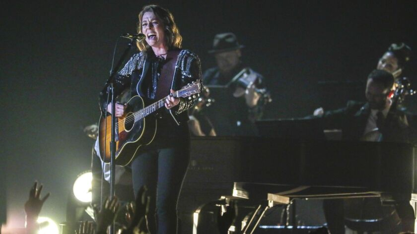 LBrandi Carlile performs at the 61st Grammy Awards.