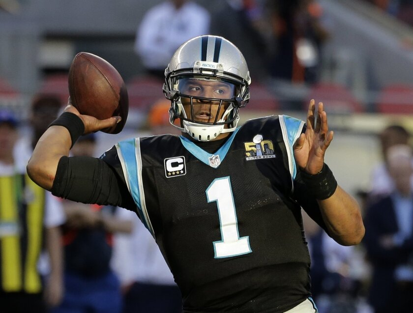Carolina Panthers' Cam Newton (1) throws during the first half of the NFL Super Bowl 50 football game against the Denver Broncos Sunday, Feb. 7, 2016, in Santa Clara, Calif. (AP Photo/Gregory Bull)