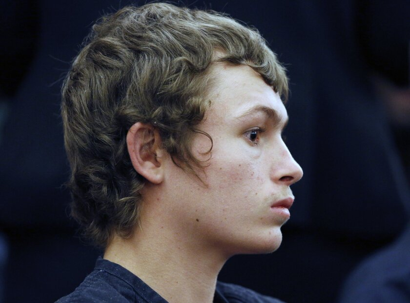 FILE - In a March 31, 2015 file photo, Erich Milton Nowsch Jr., 19, appears in court in Las Vegas. Prosecutor David Stanton said Thursday, Sept. 17, 2015, that there won't be plea deals for Nowsch Jr., or Derrick Andrews, two co-defendants facing trial next month in the shooting death of Tammy Meyers, a Las Vegas mother of four. (AP Photo/John Locher,File)