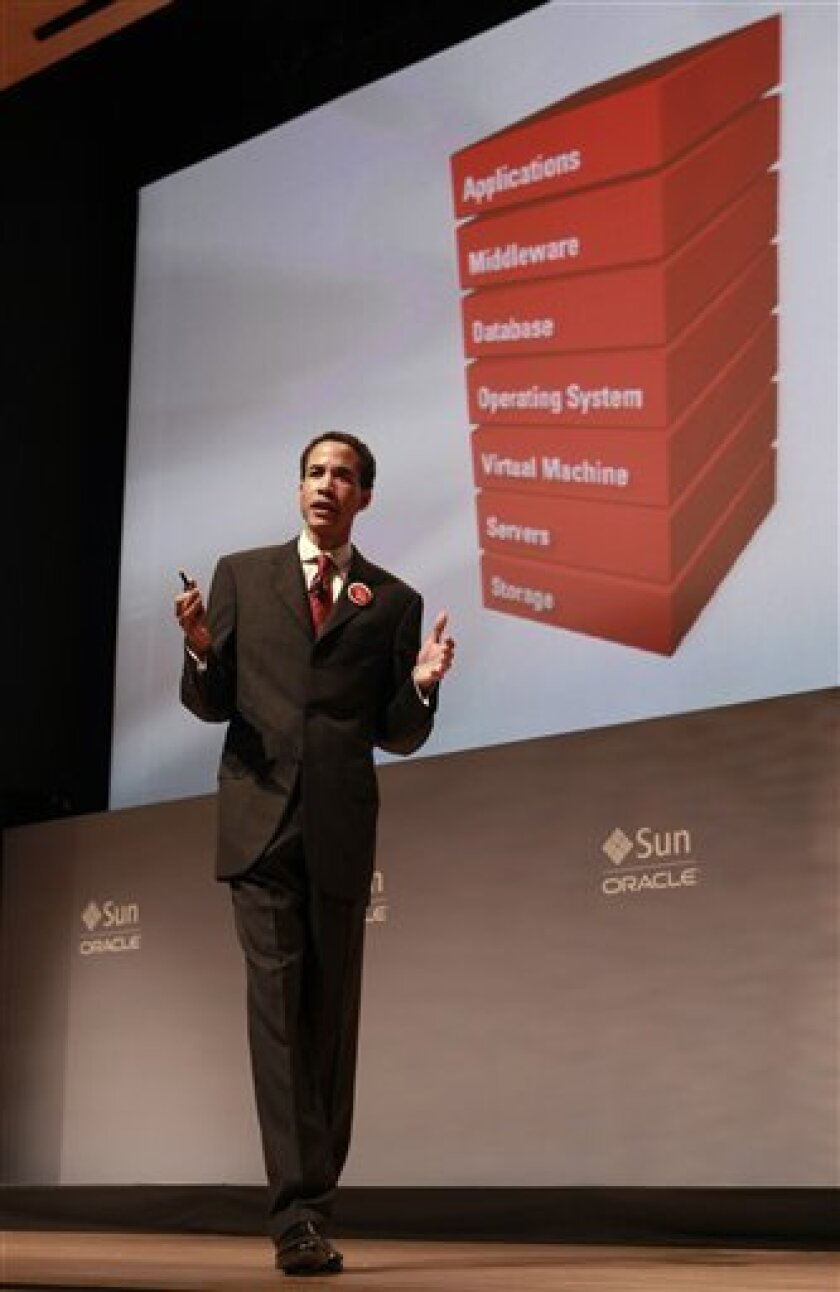 Oracle President Charles Phillips speaks at an Oracle and Sun strategy update event in Redwood City, Wednesday, Jan. 27, 2010. (AP Photo/Jeff Chiu)