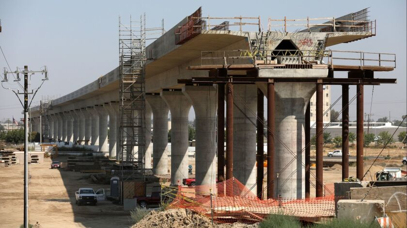 Construction of California's high-speed rail project in Fresno