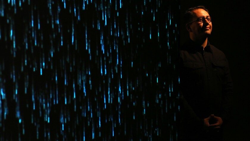 Artist Refik Anadol and his digital rain at Young Projects.