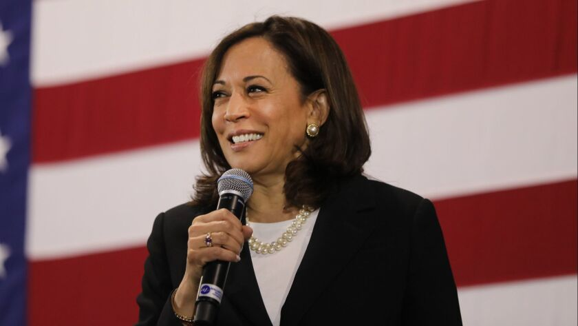 Kamala Harris stands with microphone before an American flag backdrop