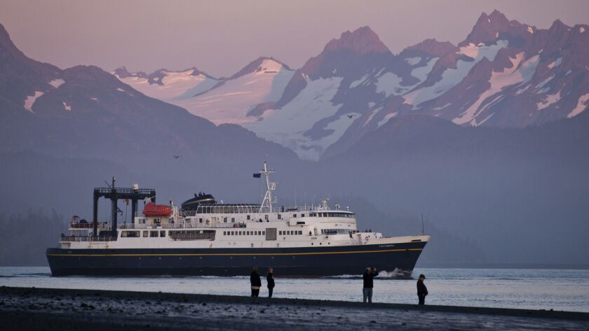 The Tustumena, a 296-foot ferry of the Alaska Marine Highway System, departs Homer in September 2016. Its route includes towns on Kodiak Island, the Alaska peninsula and the Aleutian Islands.