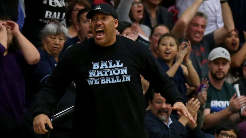 LaVar Ball cheers during a Chino Hills basketball game on March 12, 2016.
