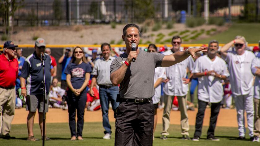 Orange County Supervisor Todd Spitzer speaks at the opening ceremonies of the OC Great Park Sports Complex.