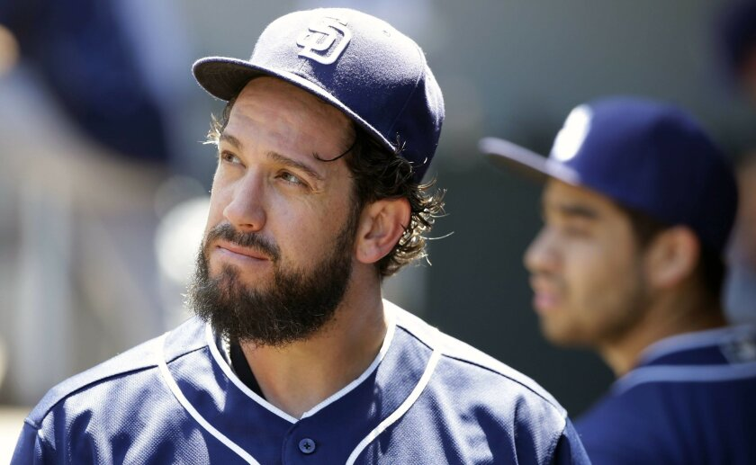 San Diego Padres starting pitcher James Shields looks to the scoreboard as he walks to the clubhouse after he was pulled in the third inning of a baseball game against the Seattle Mariners, Tuesday, May 31, 2016, in Seattle. Shields gave up 10 runs, all of them earned, from eight hits. (AP Photo/Ted S. Warren)
