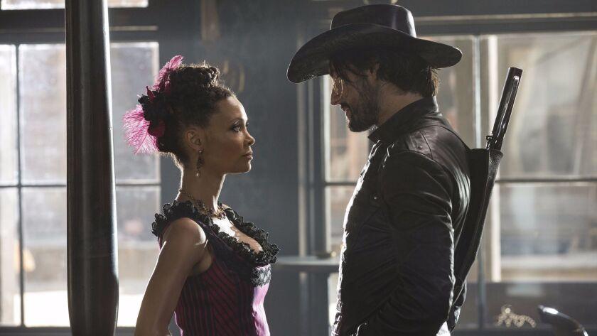 "Thandie Newton, as Maeve Milay and Rodrigo Santoro, as Hector Escaton in ""Westworld."""