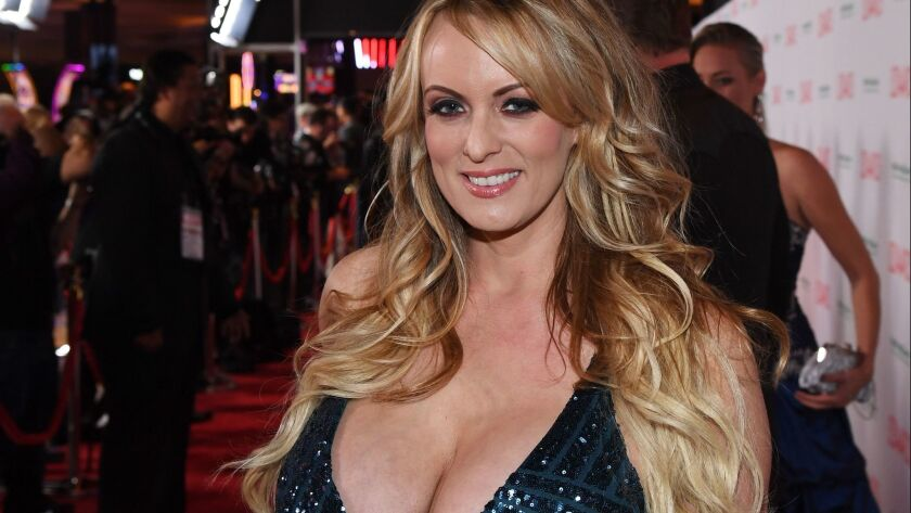 Adult film actress Stormy Daniels, known offstage as Stephanie Clifford, attends the Adult Video News Awards in Las Vegas on Saturday.