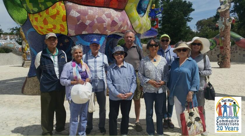Photographed before the pandemic, Del Mar Community Connections members take part in many different trips and events.
