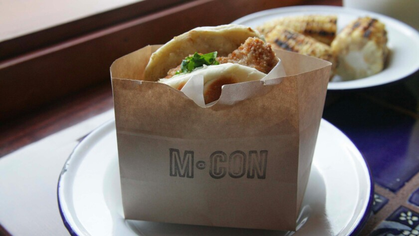 The fried chicken sandwich from M•CON.