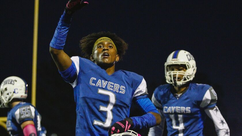 San Diego receiver Jayden Wickware (3) cheers his first-quarter touchdown against Kearny.