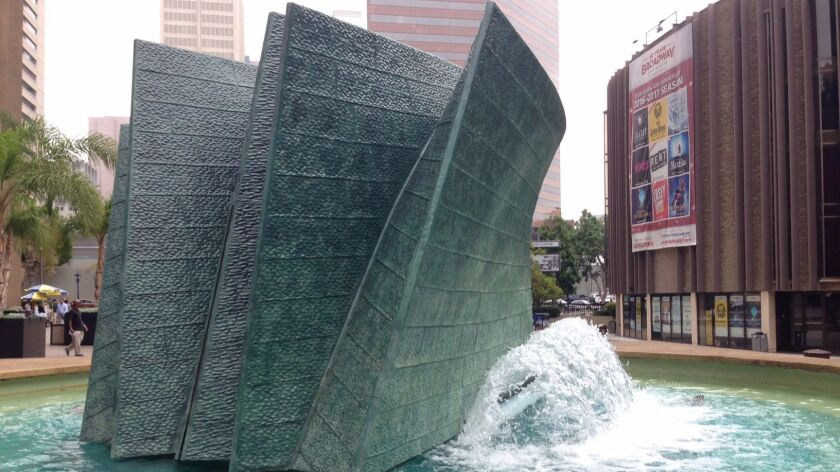 "The ""Bow Wave"" fountain by Malcolm Leland was installed in 1972 at Civic Center Plaza."