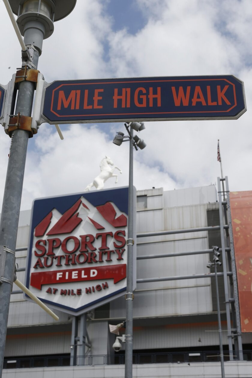 In this Thursday, May 26, 2016, photograph, the sign for Sports Authority Field at Mile High is shown on the south end of the stadium that is the home of the NFL football team Denver Broncos in Denver. The demise of retailer Sports Authority, which holds the current naming rights on the field, has