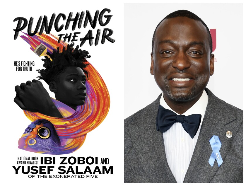 """This combination photo shows the cover of """"Punching the Air"""" by Ibi Zoboi and Yusef Salaam, left, and Salaam at the ACLU SoCal's 25th Annual Luncheon in Los Angeles on June 7, 2019. Salaam, one of the former """"Central Park Five"""" is teaming with an acclaimed children's author Zoboi on a young adult novel with a personal theme _ being wrongfully sentenced to prison. The book comes out Sept. 1. (Balzer + Bray via AP, left and Chris Pizzello/AP)"""
