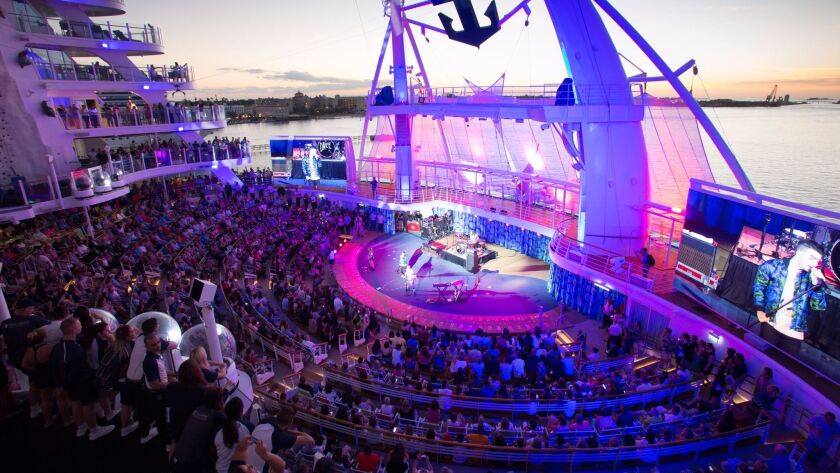 DNCE is seen performing on Royal Caribbean's Harmony of the Seas.