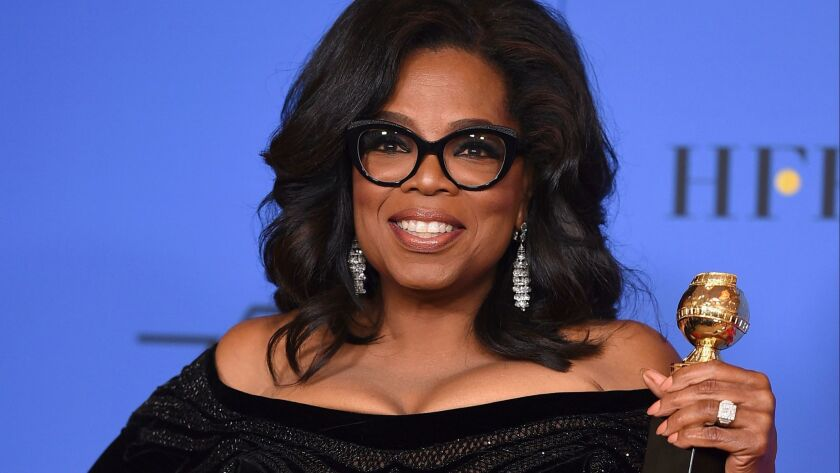 """Oprah Winfrey at the Golden Globes. She has announced her latest book club selection, """"An American Marriage"""" by Tayari Jones."""