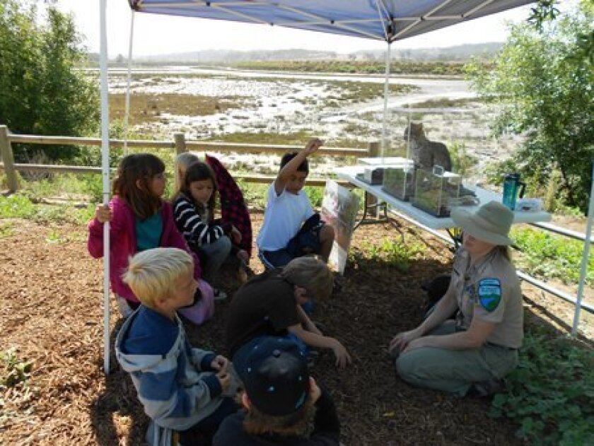 Del Mar Hills students talk with a ranger about local lagoon life.