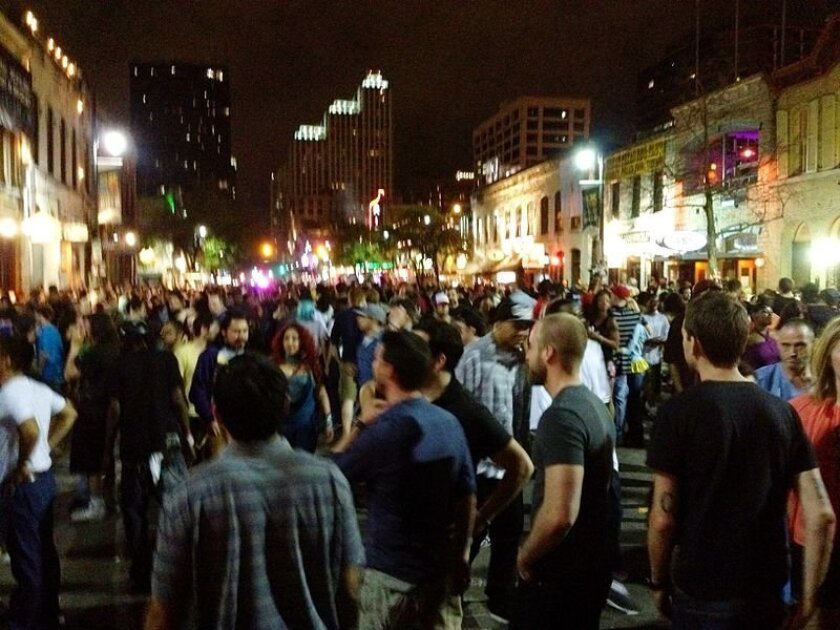 Sixth Street is jammed during SXSW in Austin last year. Photo courtesy of Wikipedia