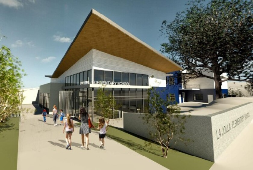 A rendering of a new two-story building to be constructed at La Jolla Elementary School.