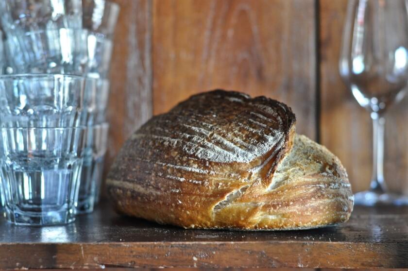 A loaf of sourdough bread at Republique.