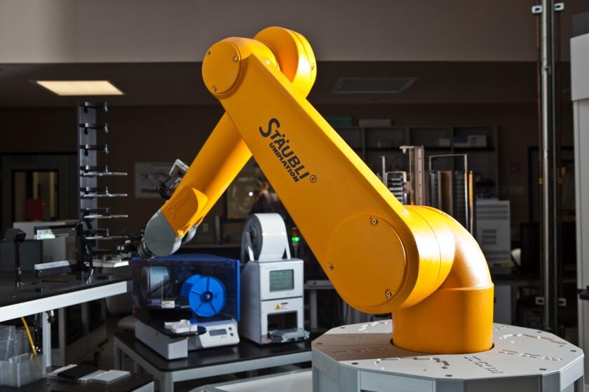 A drug screening robot at the Conrad Prebys Center for Chemical Genomics.