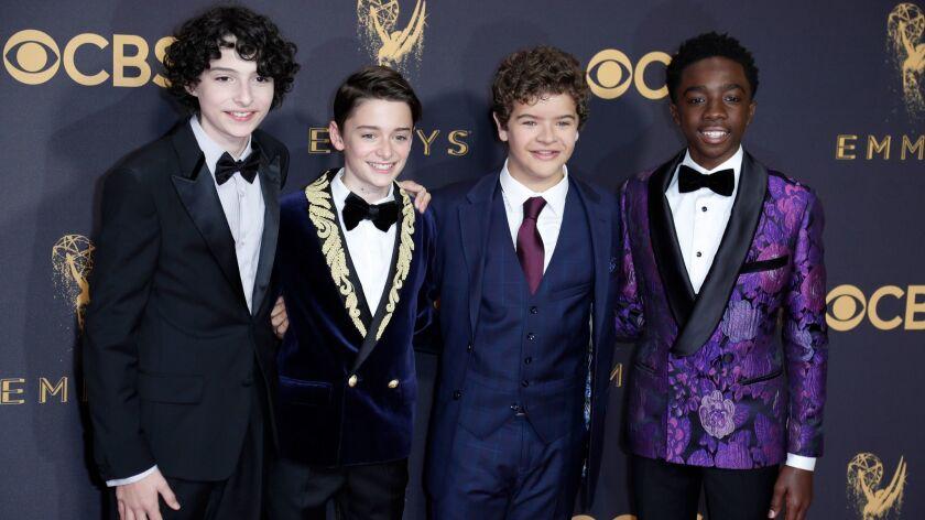 """Stranger Things"" actors Finn Wolfhard, from left, Noah Schnapp, Gaten Matarazzo and Caleb McLaughli"