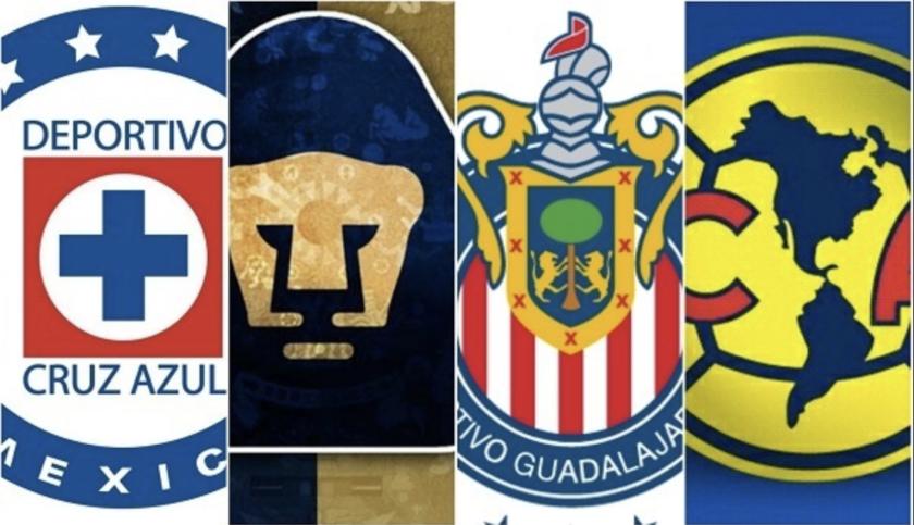 Cruz Azul, Pumas, Chivas y América, los 4 grandes del futbol mexicano.