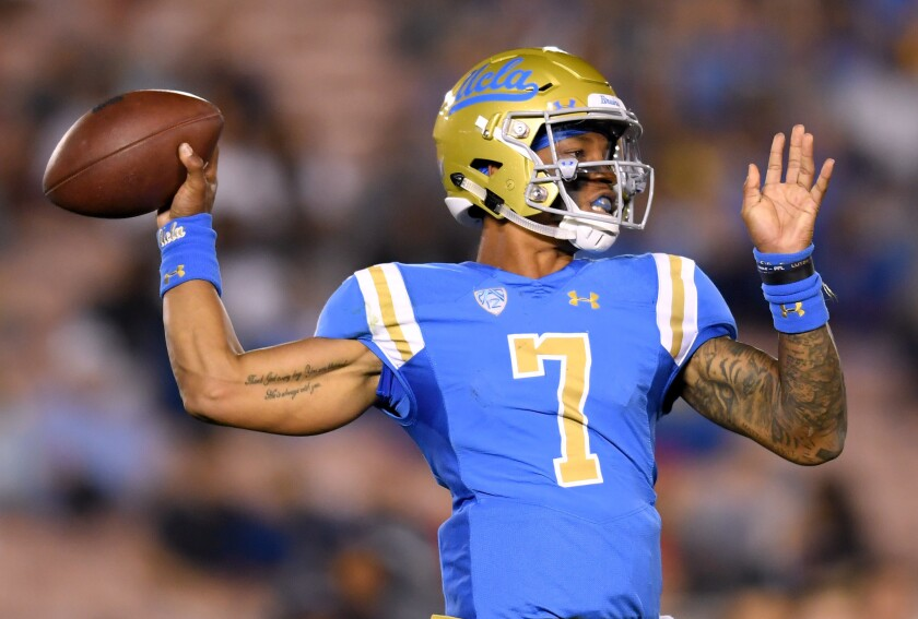 UCLA quarterback Dorian Thompson-Robinson throws a pass against Fresno State last year.