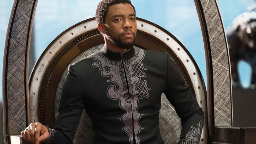 "This image released by Disney shows Chadwick Boseman in a scene from Marvel Studios' ""Black Panther."