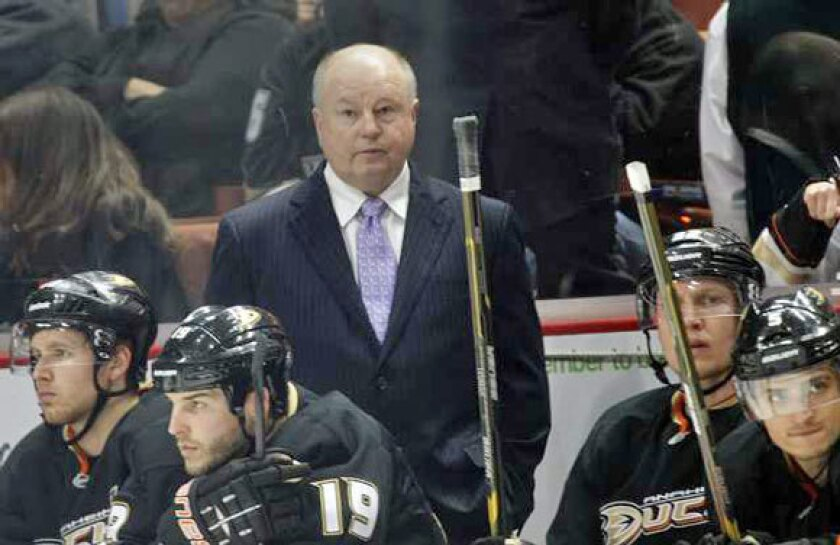 Ducks Coach Bruce Boudreau, shown on the bench during the regular season, picks the Kings to play the New York Rangers in the Stanley Cup Finals.