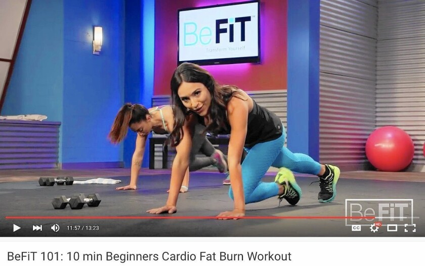 Trainer Allie Cohen teaches BeFit's 10 Minute Beginners Cardio Fat Burn Workout on YouTube.