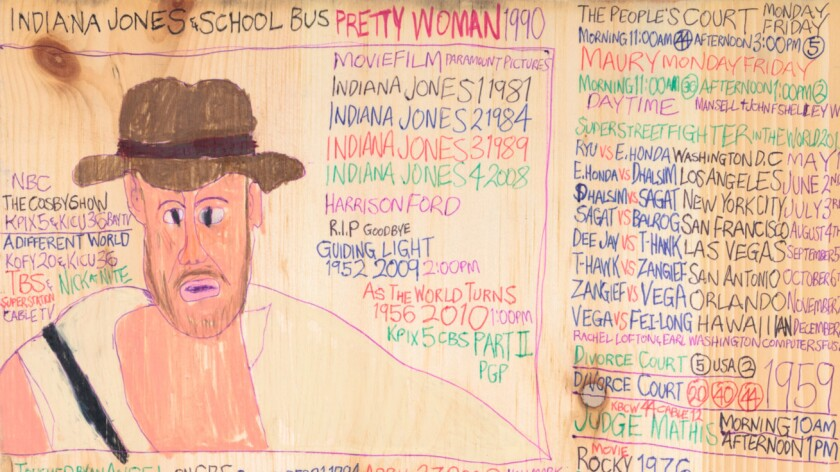"Detail of Daniel Green's ""Indiana Jones School Bus,"" 2015, at Good Luck Gallery."