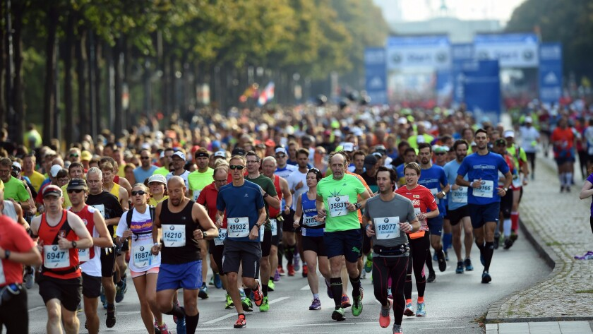 An immortal could run as many marathons as they wanted to over the course of their infinitely long lifetime. Above, athletes compete in the Berlin Marathon in Germany on Sept. 25.