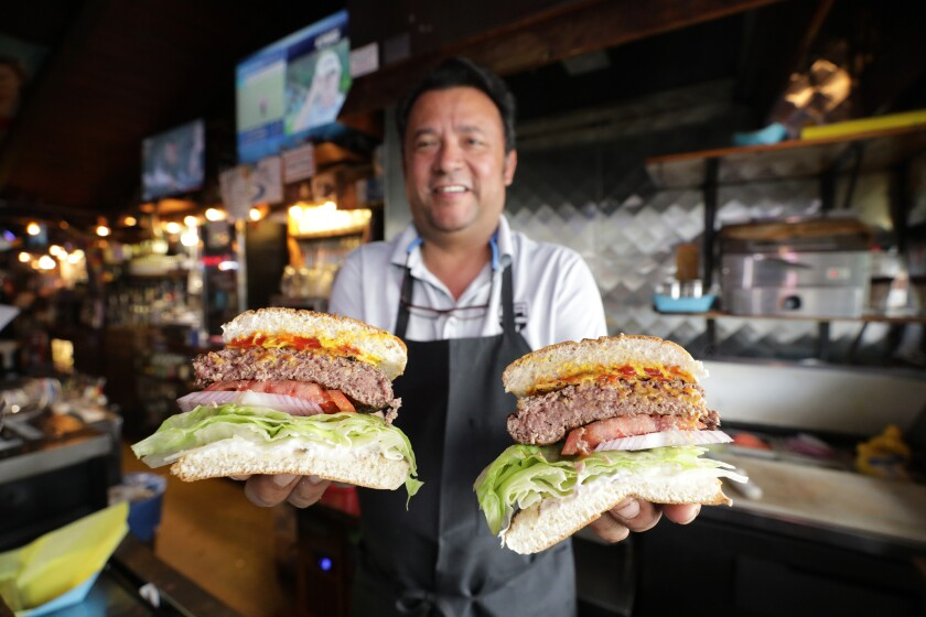 The juicy burgers at Ercoles in Manhattan Beach are cooked just east of done.