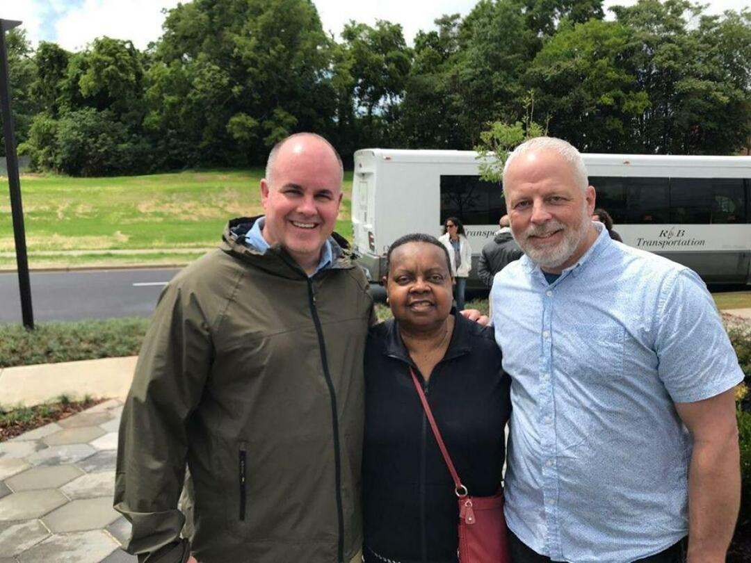 Mike Tusken, Virginia Huston and Warren Read at the National Memorial for Peace and Justice in Montgomery, Ala., in 2018.