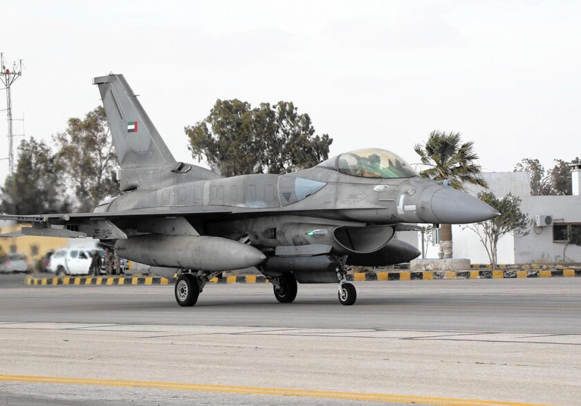 A United Arab Emirates fighter lands at a Jordanian base to provide support in the battle against Islamic State.